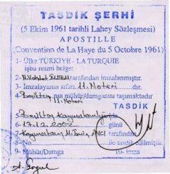 Апостиль Турция в Москве