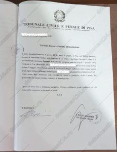 zaverenie perevoda tribunal italiya