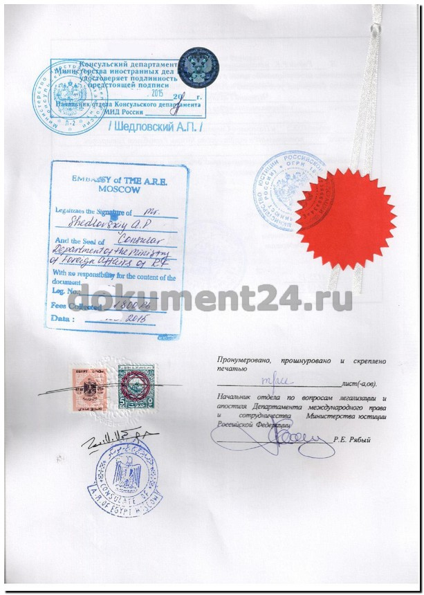 легализация документов египет